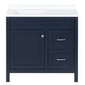 Maywell 36.5 in. W x 18.75 in. D x 37.69 in. H Vanity in Blue with White Cultured Marble Vanity Top and Sink