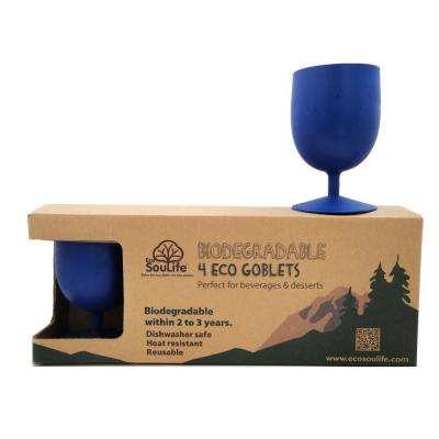 Eco 15 oz. 4-peice Sky Blue Bamboo Goblet Set
