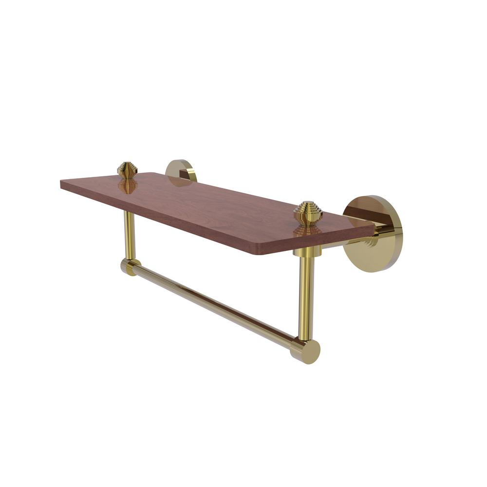 Allied Brass South Beach Collection 16 in. W Solid IPE Ironwood Shelf with Integrated Towel Bar in Unlacquered Brass