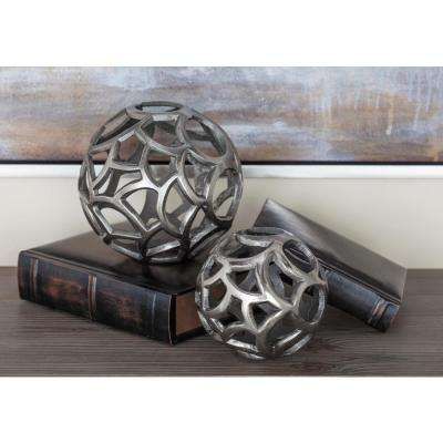 Silver Aluminum Decorative Sphere Sculptures (Set of 2)