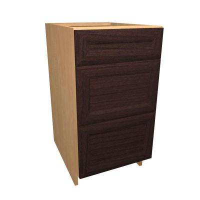 Dolomiti Ready to Assemble 30 x 34.5 x 24 in. Base Drawer Cabinet with 3 Soft Close Drawer in Espresso