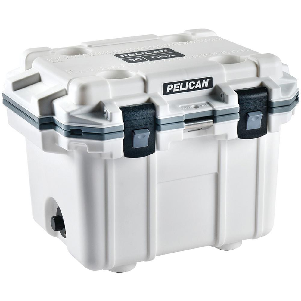 30 Qt. White with Gray Trim Elite Cooler