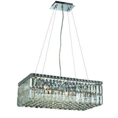 6-Light Chrome Pendant with Clear Crystal