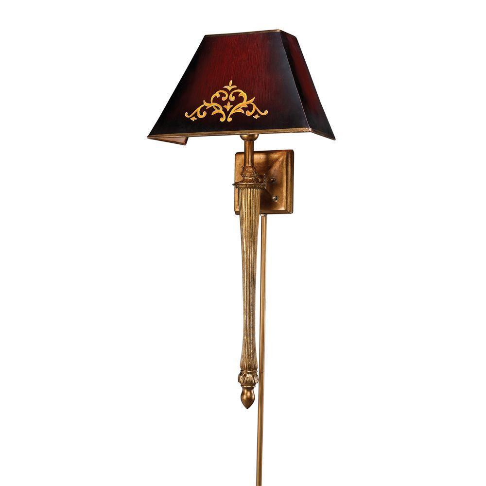 Titan Lighting 1-Light Gold Leaf Sconce