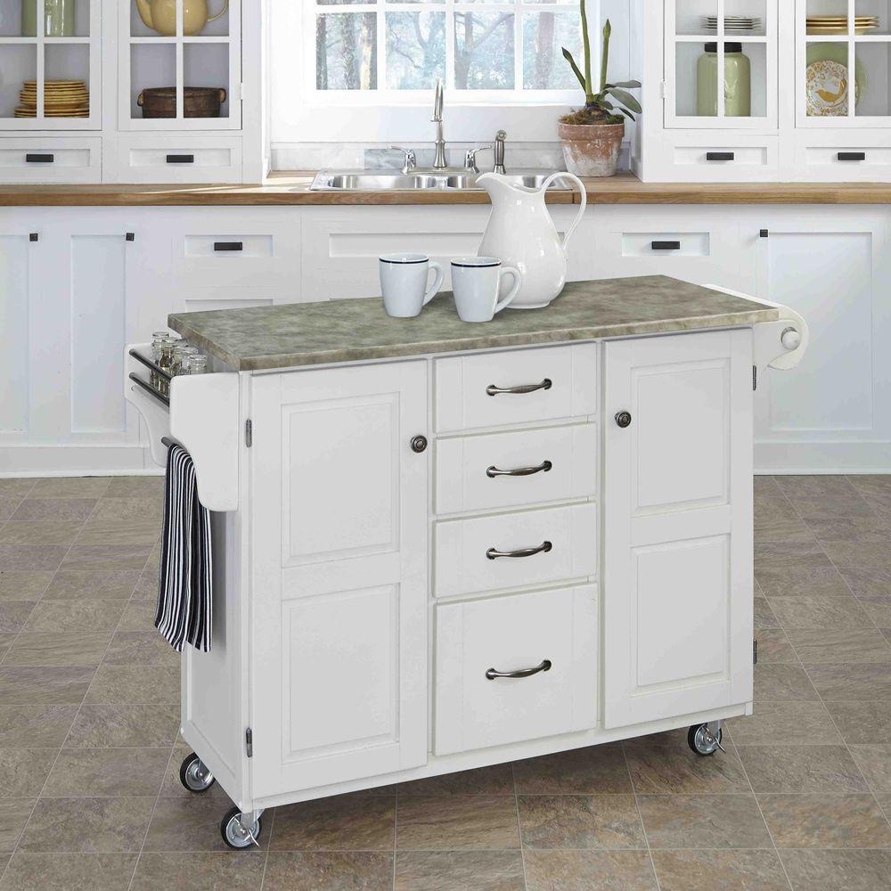 Create-a-Cart White Kitchen Cart With Concrete Top