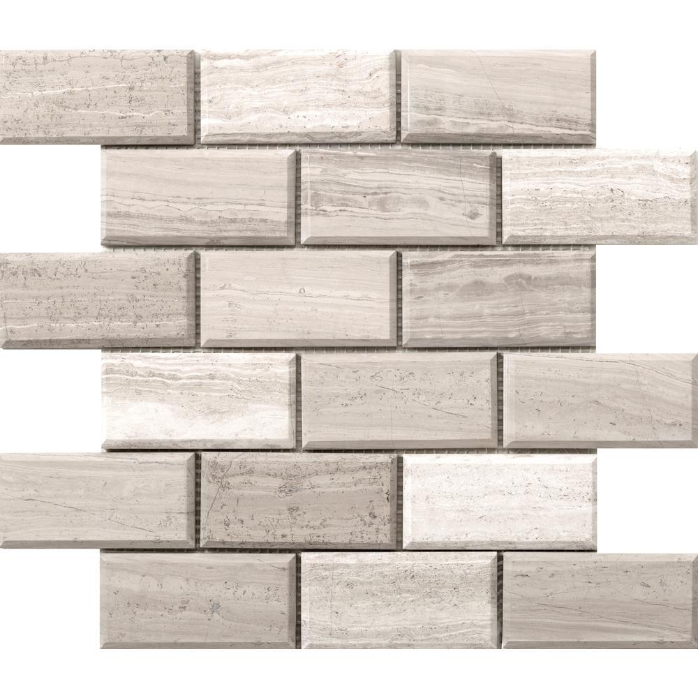 Metro Cream Bevel 12 in. x 12 in. x 10 mm Limestone Mosaic Tile (1 sq. ft.)