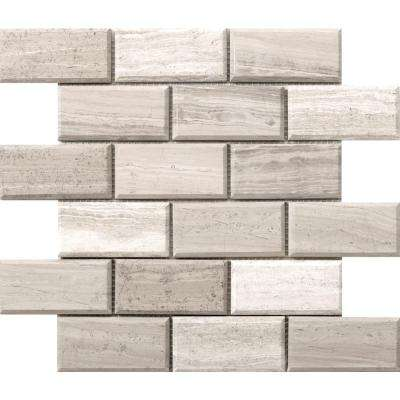 Metro Cream Bevel 12 in. x 12 in. x 10 mm Limestone Mosaic Tile (1 sq. ft.)