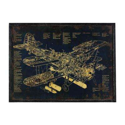 "23.50 in. x 32.50 in. ""Aircraft Blueprint"" Printed Wall Art"