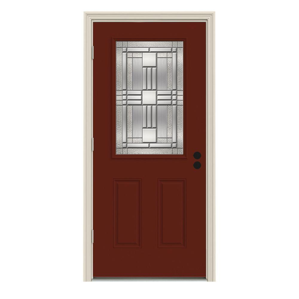 Jeld Wen 34 In X 80 In 1 2 Lite Cordova Mesa Red Painted