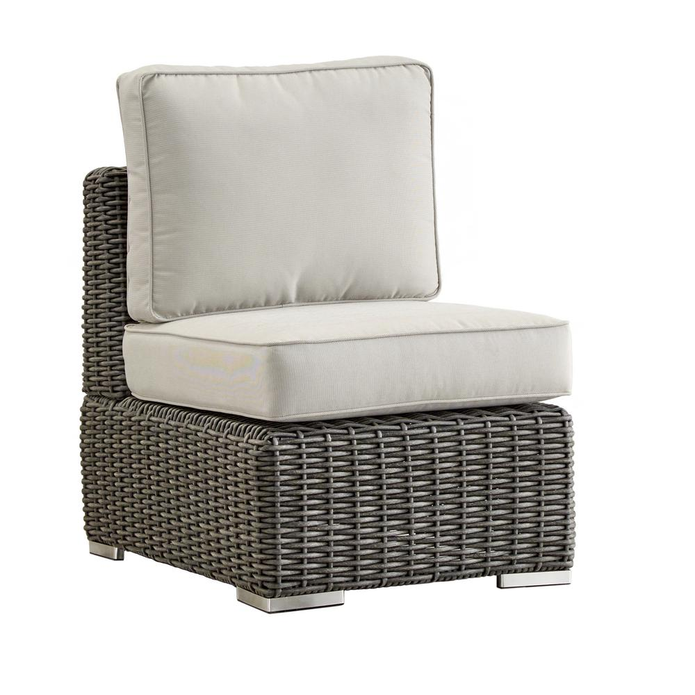 Camari Charcoal Wicker Armless Middle Outdoor Sectional Chair with Beige Cushion