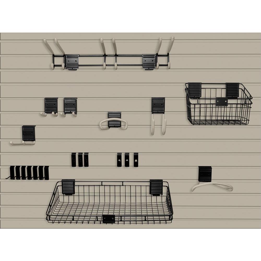 Handiwall 4 ft. x 8 ft. Slat Wall Starter Kit in Taupe
