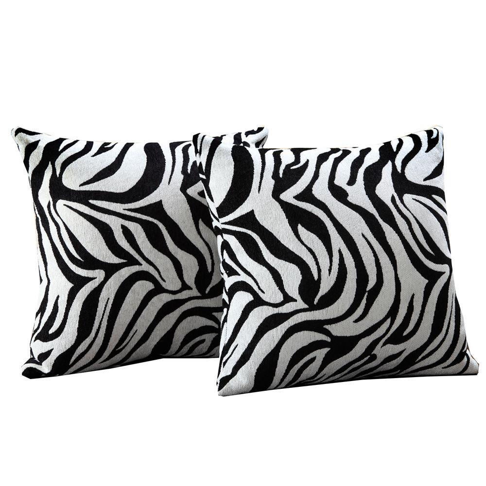 HomeSullivan Polyester Zebra Print Toss Pillow (Set of 2)-DISCONTINUED