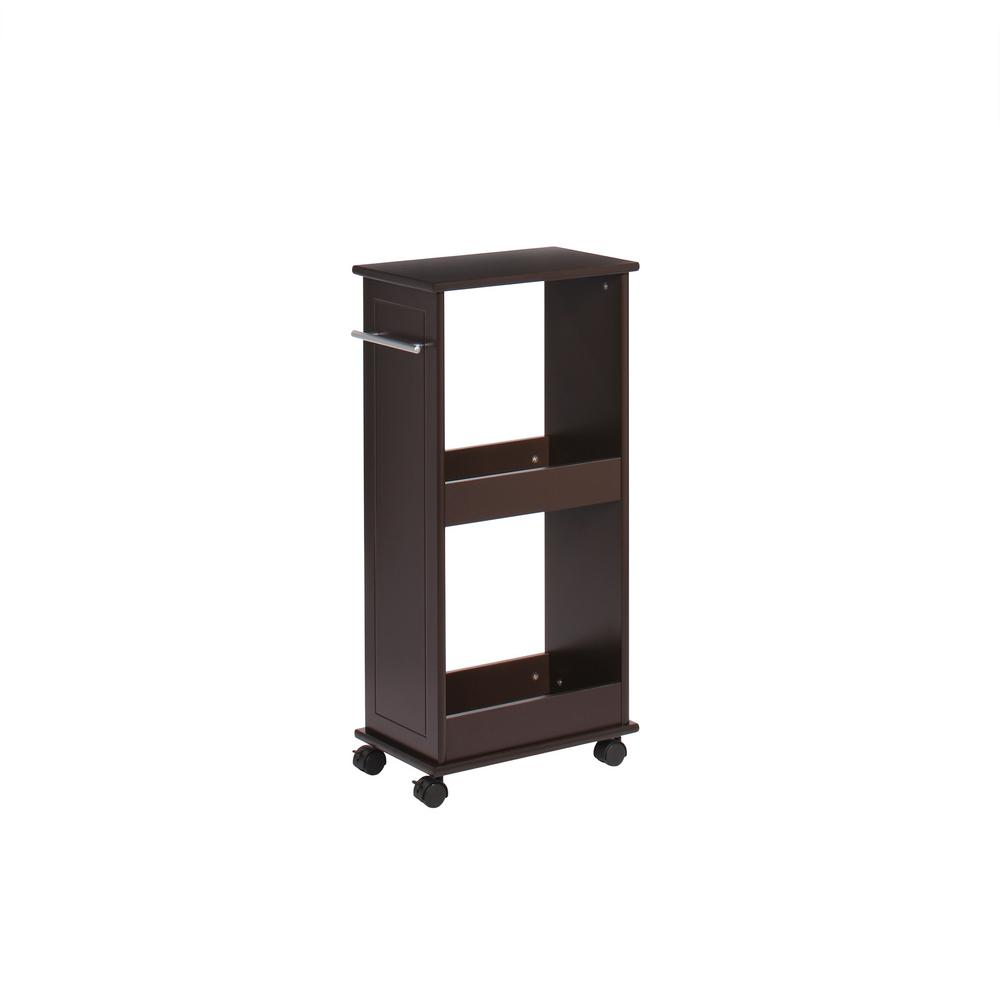 RiverRidge Home 16 in. W Rolling Side Cabinet with Shelves in Espresso