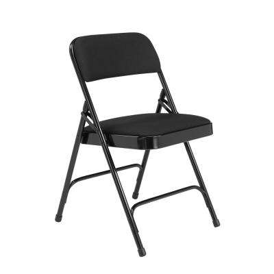 Midnight Black Fabric Padded Seat Stackable Folding Chair (Set of 4)