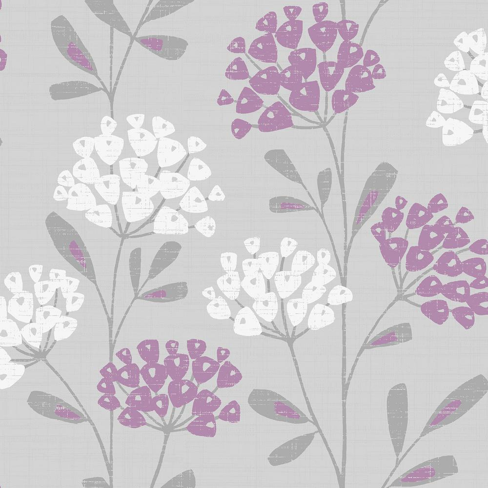 Ola Grey Floral Paper Strippable Roll (Covers 56.4 sq. ft.)