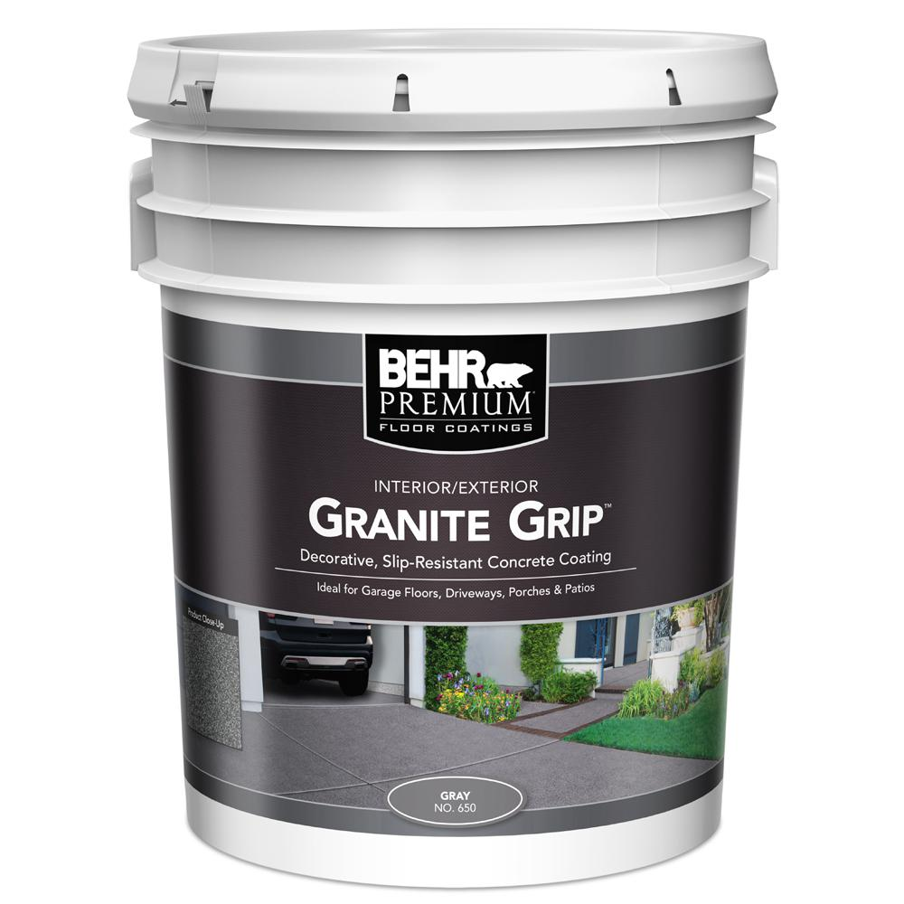 Behr 5 Gal Gray Granite Grip Interior Exterior Concrete Paint 65005 The Home Depot