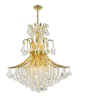 Empire Collection 11-Light Polished Gold Crystal Chandelier