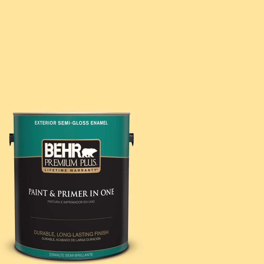 BEHR Premium Plus 1-gal. #340B-4 Lemon Drops Semi-Gloss Enamel Exterior Paint