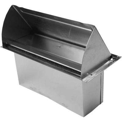 10 in. x 3.25 in. Galvanized Rectangular Wall Vent with Spring Return Damper with 5 in. Extension
