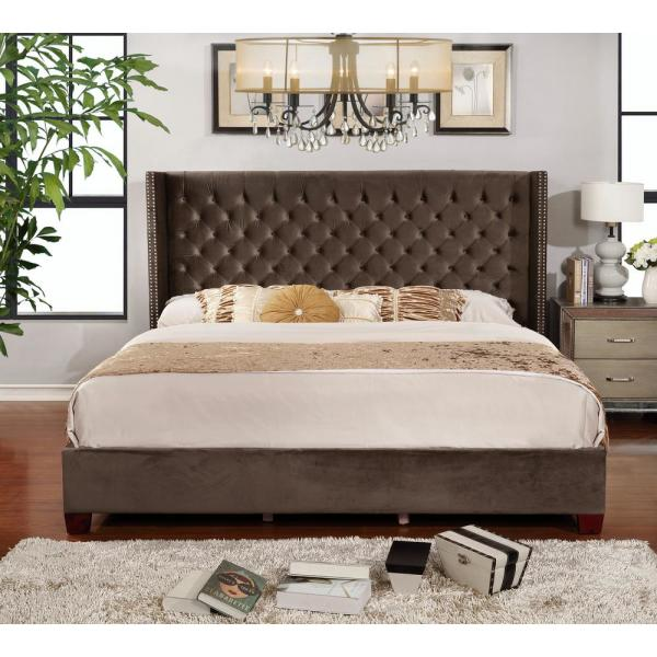 undefined-Brown King Button Tufted Shelter Bed Full Set