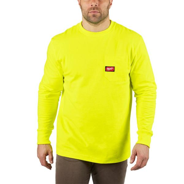 Men's Large High Visibility Heavy Duty Cotton/Polyester Long-Sleeve Pocket T-Shirt