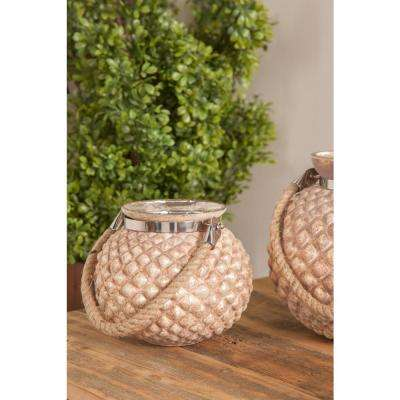 Distressed Gold Hobnail Design Candle Lanterns (Set of 2)