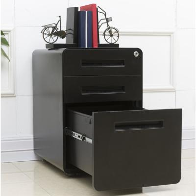 Black 3-Drawers Mobile File Cabinet Fully Assembled