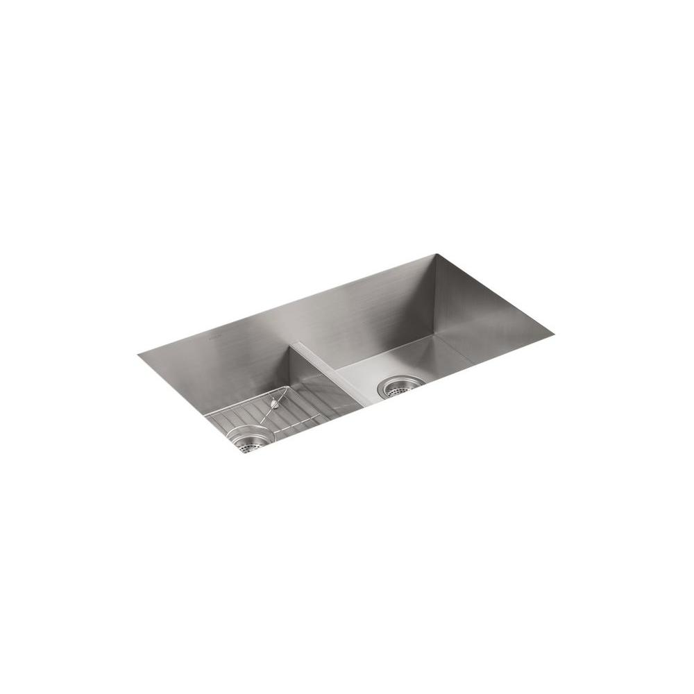 Vault Drop-In/Dualmount Stainless Steel 33 in. 4-Hole Double Basin Kitchen Sink