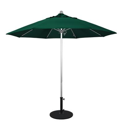 California Umbrella 9 ft. Silver Anodized Aluminum Market Patio Umbrella with Fiberglass Ribs Push Lift in Forest Green...