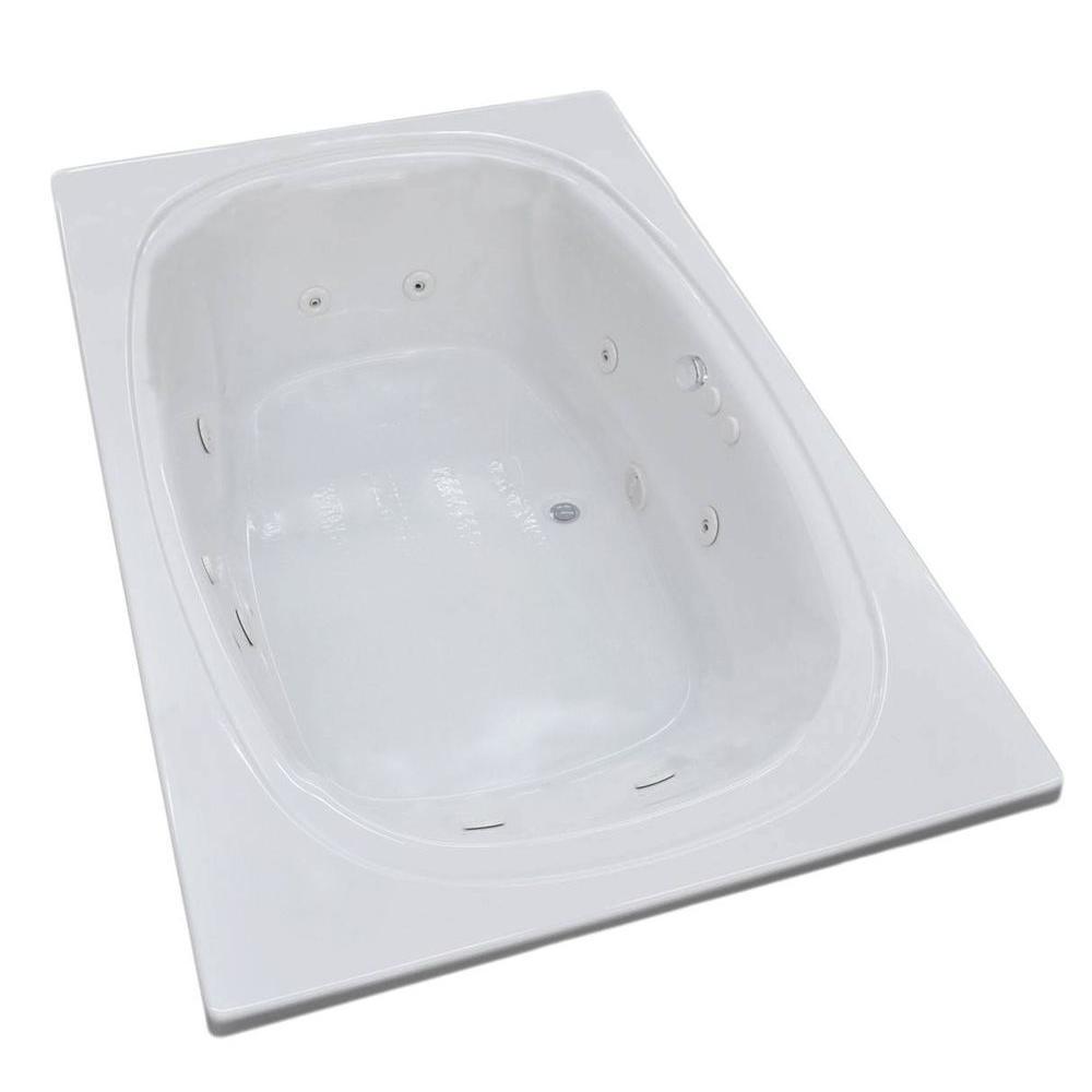Peridot 6.5 ft. Acrylic Rectangular Drop-In Whirlpool Bath Tub in White