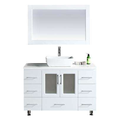 Stanton 48 in. W x 20 in. D Single Vanity in White with Composite Stone Vanity Top and Mirror in White