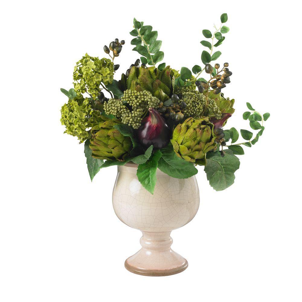 Nearly Natural 15 in. H Green Artichoke and Hydrangea Silk Flower Arrangement