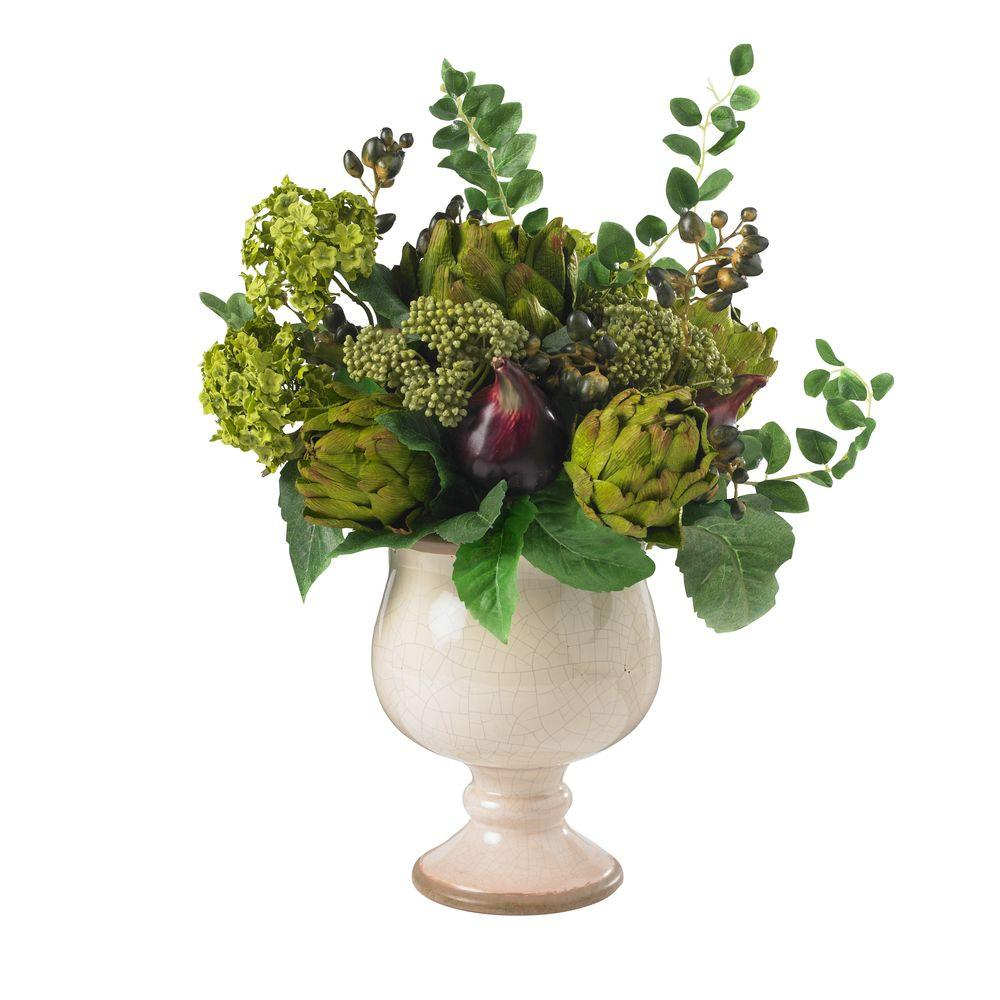Nearly Natural 15 in. H Green Artichoke and Hydrangea Silk Flower Arrangement Nearly Natural 15 in. H Green Artichoke and Hydrangea Silk Flower Arrangement
