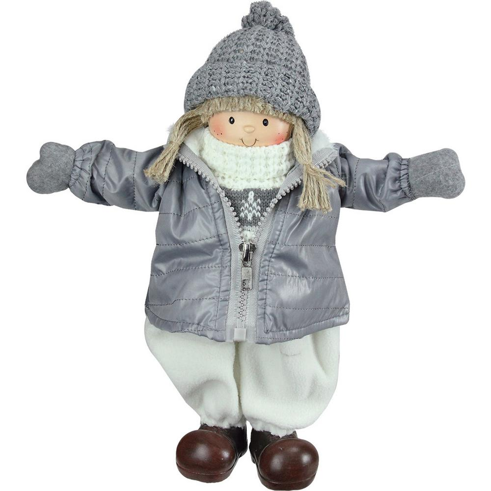 12 in. Gray and White Cheerful Standing Girl Christmas Tabletop Decoration