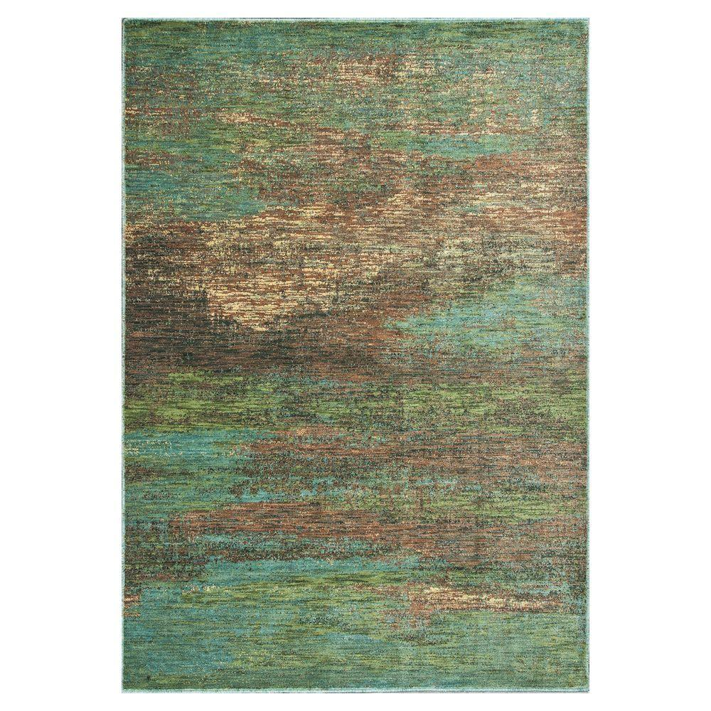 Kas Rugs Water Reflections Blue/Tan 2 ft. 3 in. x 3 ft. 3 in. Area Rug