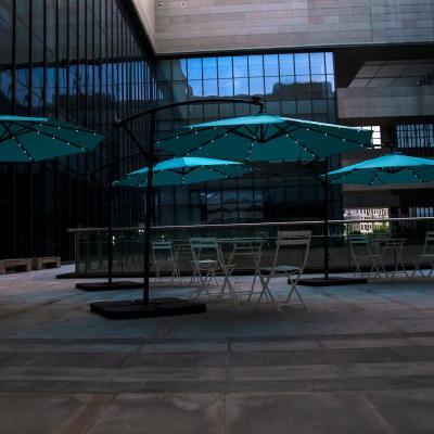 10 ft. Cantilever Hanging Patio Umbrella with Solar LED and 4-Piece Base Weights, Turquoise