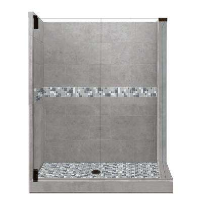 Newport Grand Hinged 42 in. x 48 in. x 80 in. Left-Hand Corner Shower Kit in Wet Cement and Black Pipe Hardware