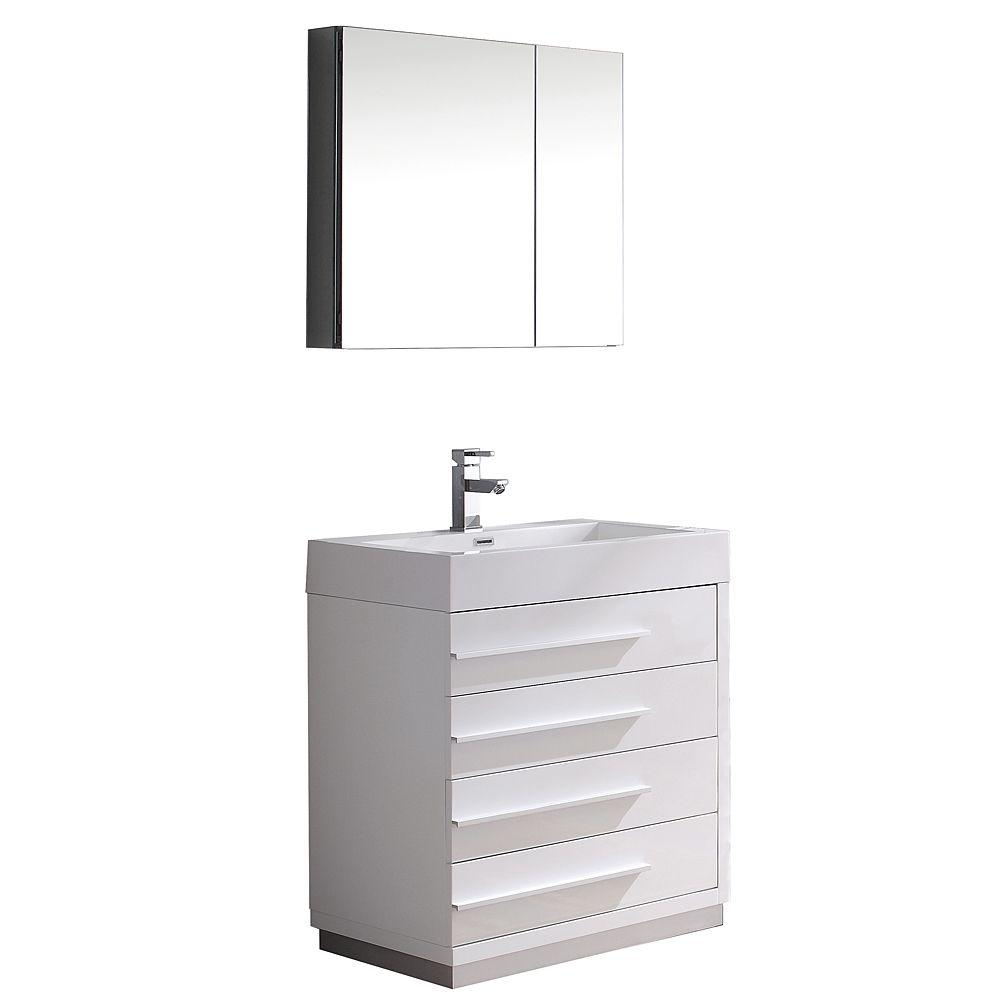 Livello 30 in. Vanity in White with Acrylic Vanity Top in