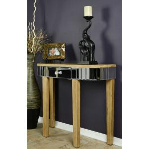 Shelly Distressed Brown Mirrored Console Table