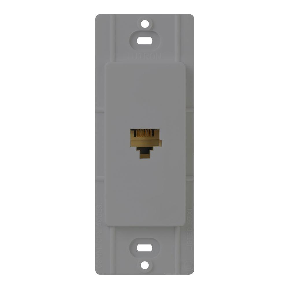 Lutron Claro Telphone Jack, Gray Coordinate your lighting controls and switches with cable and telephone jacks to complement your decor. Balance the elements of color and texture in a room with controls that seamlessly pull everything together. Claro accessories are perfect for every room of your home. Available in 7 gloss colors, your telephone jacks let you coordinate and customize the look of each room in your home. Installing a telephone jack is easy and can be done in less than 15 minutes. Color: Gray.