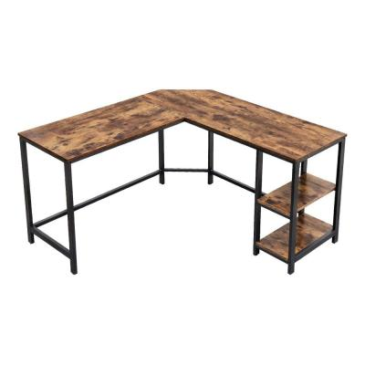 29.9 in. H Brown and Black L-Shape Wood and Metal Frame Computer Desk with 2-Shelves