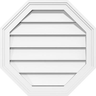 24 in. x 24 in. Octagonal Surface Mount PVC Gable Vent: Functional with Brickmould Frame