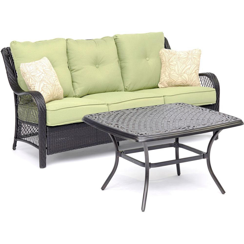 Orleans 2-Piece Metal Patio Conversation Set with Avocado Green Cushions