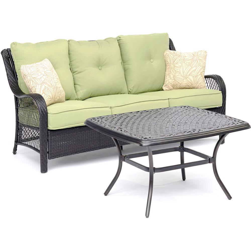 Metal Conversation Set Avocado Green Cushions