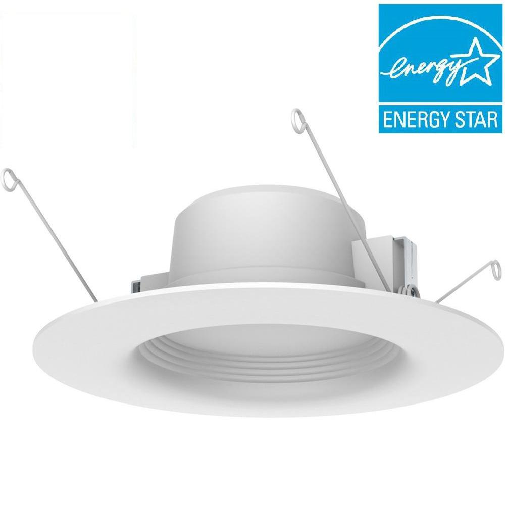 EcoSmart 5 in. and 6 in. White Integrated LED Recessed Trim (3-Pack)