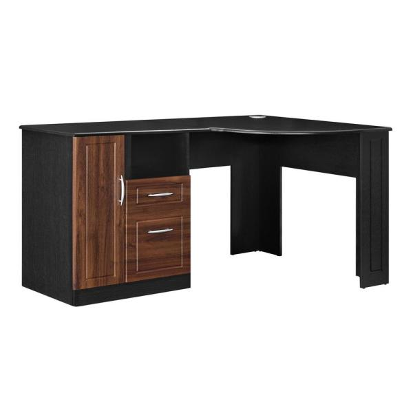 Ameriwood Home Wilson Cherry and Black Desk with Storage HD54061