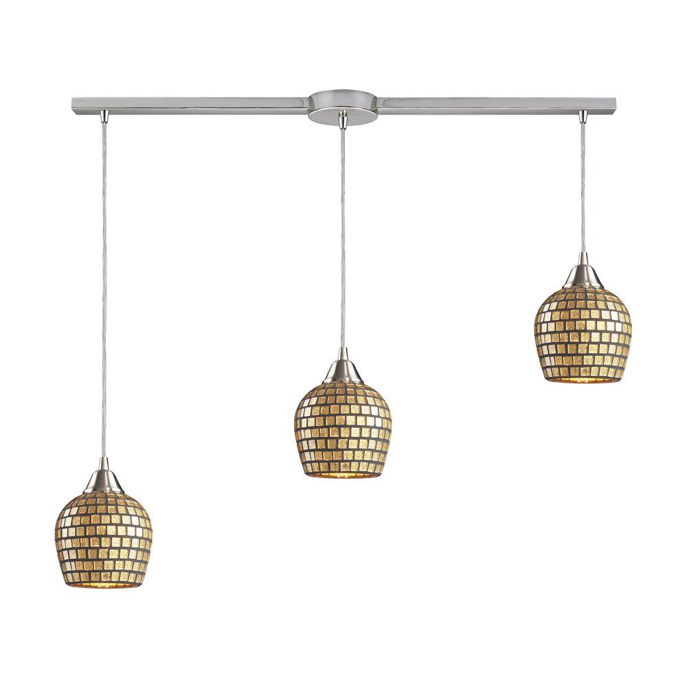 Fusion 3-Light Linear Satin Nickel Pendant with Gold Mosaic Glass