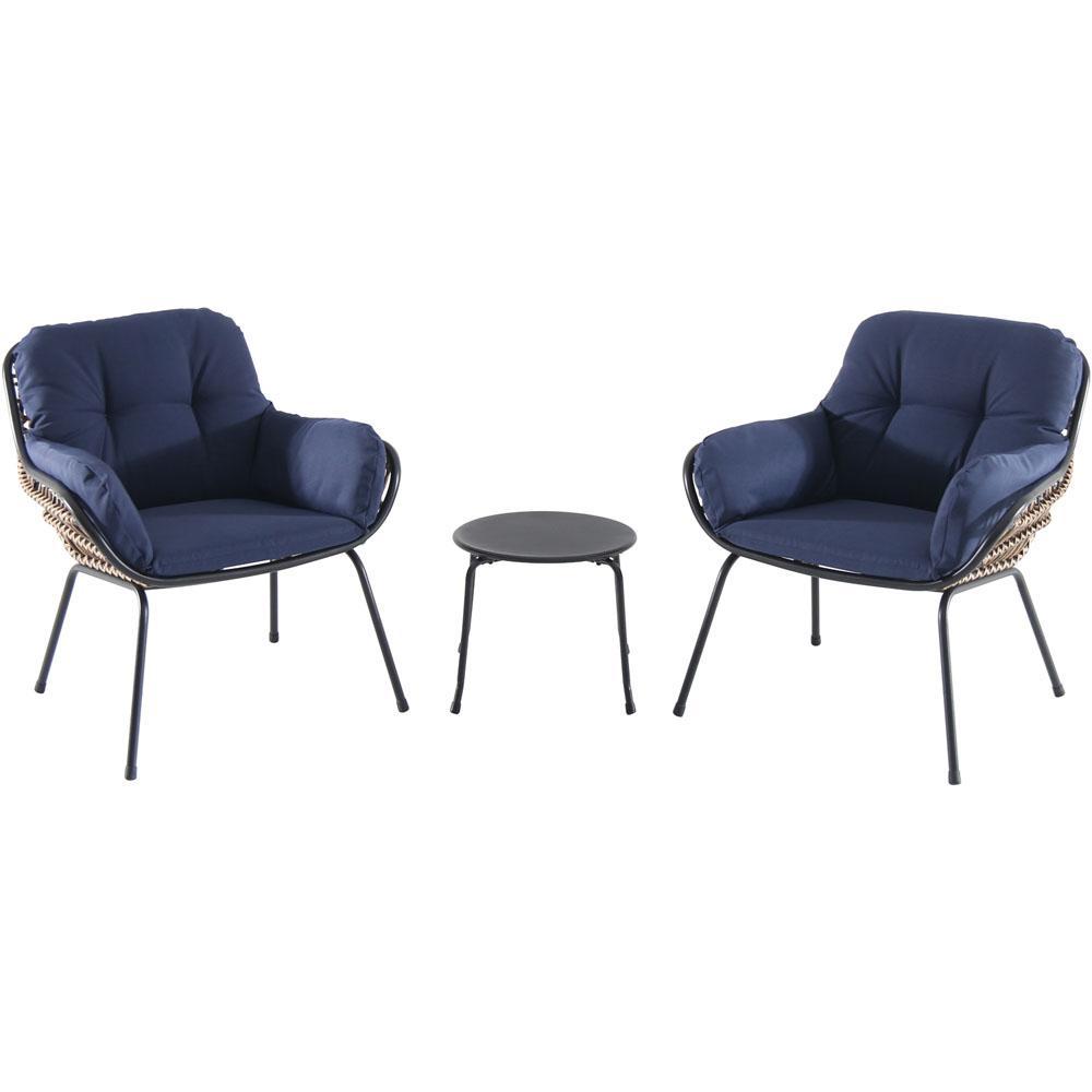 Hanover Naya 3-Piece Wicker Conversation Set with Navy Blue Cushions