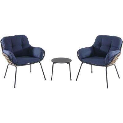 Naya 3-Piece Wicker Conversation Set with Navy Blue Cushions