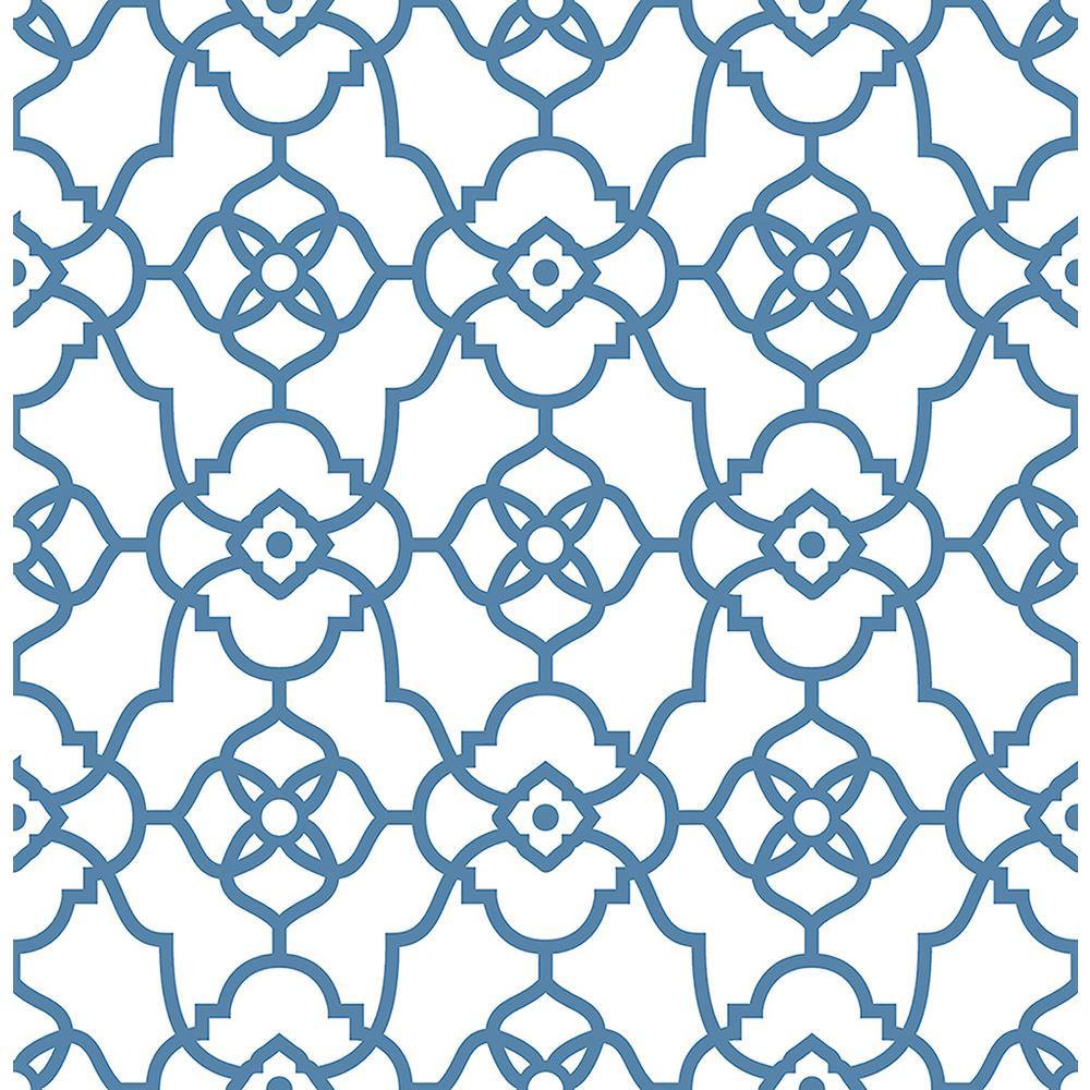 Atrium Blue Trellis Wallpaper